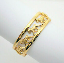 #9194 - Dog Lovers 14k Gold Large Cuff  Schnauzer Terrier Bracelet  - 35 grams