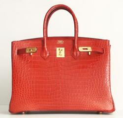 Hermes Birkin 35 Matte Porosus Crocodile Red Rouge VIF Gold Hardware New