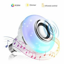 Texsens Music Lamp LED Bulb with Integrated Speaker, 6W E26 RGB Changing Light W