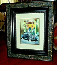 Antique Early 19th C Gesso Frame W/lithograph Shady Grove Texaco Station