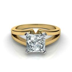 Exciting 1.00 Carat F Si1 Princess Diamond Solitaire Ring 18 K Yellow Gold