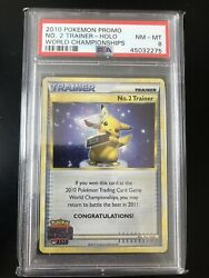 Pokemon World Championship 2010 2nd Place No. 2 Trainer PSA 8 Pop 1 Trophy Card