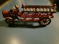 Antique Cast Iron Red Fire Engine With Driver Yellow Wheels Ladders