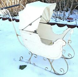 Rare Wicker Antique Victorian Childs Baby Sleigh Or Push Sled All Original