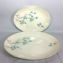 J And G Meakin Sol Serving Platters Set Of 2 Blue Branch Seed Pod 14 In 11in Vinta