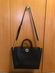 Tory Burch NWT Black Everly Pebbled Leather Gold Logo Tote