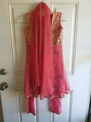 """28"""" 28"""" S Bollywood Indian Cotton Beaded Design Dress Salmon with Gold Accent"""