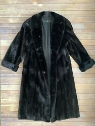 Flemington Long Fur Coat Mink Woman Antique Rare Mint Condition Black NO RESERVE