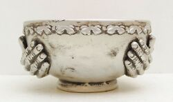 Large Bowl Silver Hands Skeleton Zombie Creepy Weird Witch Vtg Ceremonial Dish