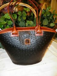 NWT DOONEY & BOURKE LARGE OSTRICH ANDIE TOTE IN BLACK OT1824BL * FREE SHIPPING**