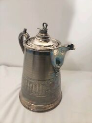 Antique 1858 Meriden Lyman's Rogers Smith Silver Plate Swan Water Pitcher Patina