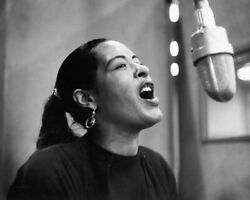 Billie Holiday Iconic Image Music Legend Singing Microphone B/w 16x20 Canvas