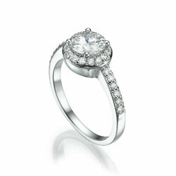 SIDE STONES WOMENS COLORLESS 2.55 CARATS 18K WHITE GOLD HALO DIAMOND RING VS