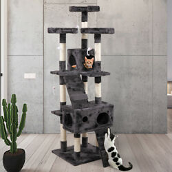 New 67quot; Cat Tree Tower Condo Furniture Scratching Post Pet Kitty Play House Gray