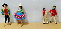 South American And Indian Dolls Lot 4 Cloth Traditional Costumes Miniatures