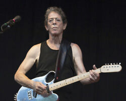 Lou Reed Iconic In Concert Image With Guitar Black Vest 16x20 Canvas Giclee