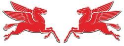 2 Mobil Gas Flying Red Horse Pegasus L And R Metal Heavy Steel Signs Extra Large