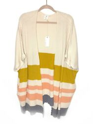 NWT By Together Collection Striped Open Cardigan Sweater Medium  Large Womens
