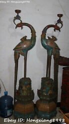 200CM China Cloisonne Bronze Red-crowned crane Candle Holder Candlestick Pair