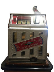 Vintage Blue Seal Confections 5 Cent Candy Casino Slot Machine With Base Stand