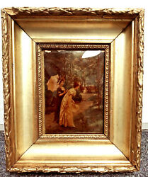 Antique 1893 Reverse Photo On Bubble Curved Glass Hand Painted Gold Gilt Frame