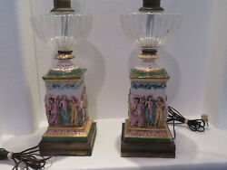 1900s Hand Painted Capodimonte Victorian Lamps 12 Figures Of Soldiers And Women