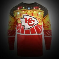 Med-Official Licensed NFL Kansas City Chiefs Ugly XMAS LightUp Bluetooth Sweater