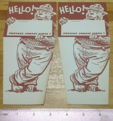 Vintage -smokey The Bear- Junior Forest Ranger Badge And Pin,and 2 Hello Name Tags