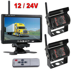 Wireless Rvs Truck Harvester Rear View Dual Backup Camera System 7 Hd Monitor