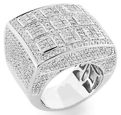 +aaa Cz Tic Tac Toe Dome Cluster Men's Rings 925 Sterling Silver Platinum Finish