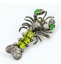 Natural Peridot And Green Onyx Sterling Silver Lobster Brooch