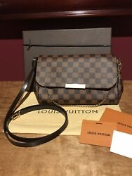 RARE Authentic Louis VUITTON Favorite MM Damier Ebene Clutch CrossBody Excellent