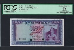Ceylon 50 Rupees 3-7-1967 P70as Specimen About Uncirculated