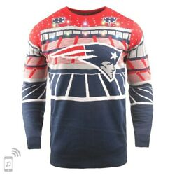 XXL-Off.Licensed NFL New England Patriots Ugly XMAS Light-Up Bluetooth Sweater