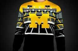 Large Off.Licensed NCAA Michigan Wolverines Ugly XMAS Light-Up Bluetooth Sweater