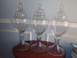 Monumental Trio Antique Glass Apothecary Show Globe Jar Blown Glass Candy Store
