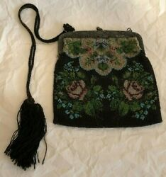 Antique Victorian Purse Black Pink Green Flowers Beaded
