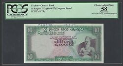 Ceylon 10 Rupees Nd1969-1977 P74p Specimen Proof Choice About New