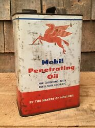 Vintage 5 Gal Mobil Penetrating Motor Oil Tin Can With Pegasus Graphics Sign