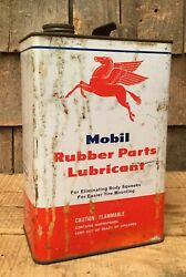 Vintage 5 Gal Mobil Rubber Parts Lubricant Motor Oil Tin Can Pegasus Graphics