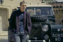 Steve Mcqueen Cool Iconic Pose By Land Rover Classic Car 24x18 Poster
