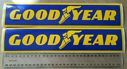 Vintage Goodyear Tyres 32cm Sticker Blue And Gold X 2 In Vg Condition