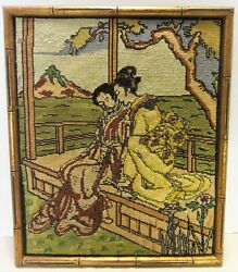 Vintage Framed Completed Needlepoint Japanese Couple Beautifully Robed And Mt Fuji