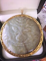Massive 2.5 Inch Antique Jade Button With 14k Gold Frame Pendant 62.5 Grams
