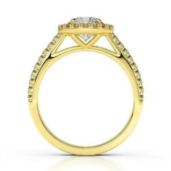 Awesome Exclusive 14 K Yellow Gold Round Halo Diamond Ring F Vs1 1.35 Ct Lady