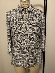 New With Tags Glitter Tweed Jacket P58692v44366 Size 42