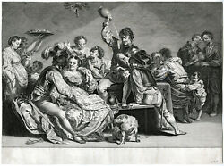 Antique Print - Brothel-lost Son-party-music-falck-liss - C.1650