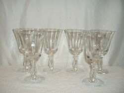 6 Fostoria Silver Flutes 6 1/2 Low Water Goblets Optic Panels Beaded Stem