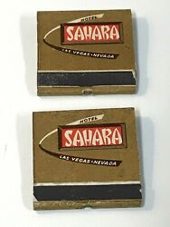 2 1940and039s Vintage Sahara Hotel Las Vegas Matchbooks - Complete And Unstruck