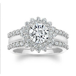 Real 1.32 Ct Round Cut Diamond With Engagement Ring Solid 14k White Gold Size 7